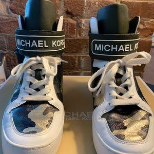 Michael Kors Olive Multi Camo Printed Trent Metallic leather high top